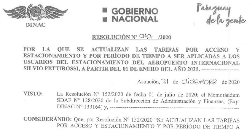 """Resolución Nº 947/2020 - """"Por la cual se actualizan las tarifas de acceso y estacionamiento..."""""""