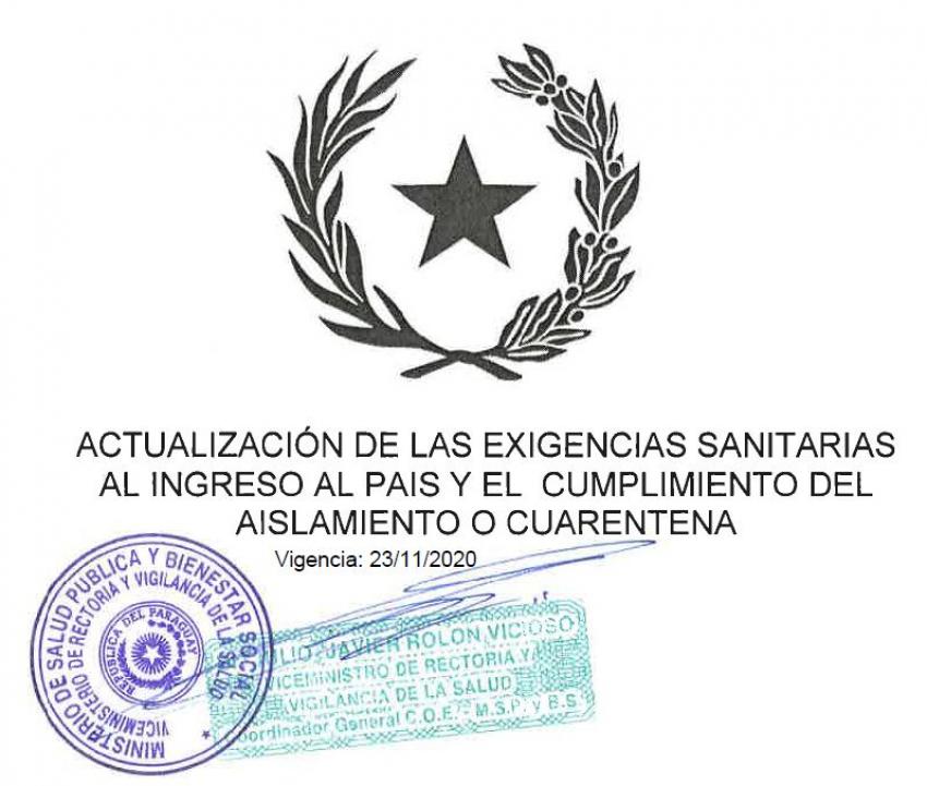 Actualización de las exigencias sanitarias al ingreso al país y el cumplimiento del aislamiento o cuarentena. VIGENCIA: 23/11/2020